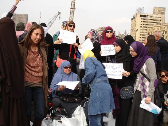 Protesting in Tahrir Square, 2011 (photo available online at http://commons.wikimedia.org/wiki/File:Flickr_-_Kodak_Agfa_-_All_ladies_against_Mubarak.jpg)