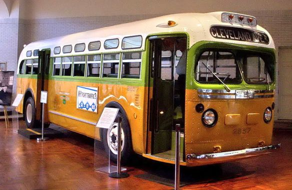 Racism reinforced and propelled, and also effectively challenged, on a moving bus: The bus on which Rosa Parks refused to give up her seat (available from http://commons.wikimedia.org/wiki/File:Rosa_parks_bus.jpg#file)
