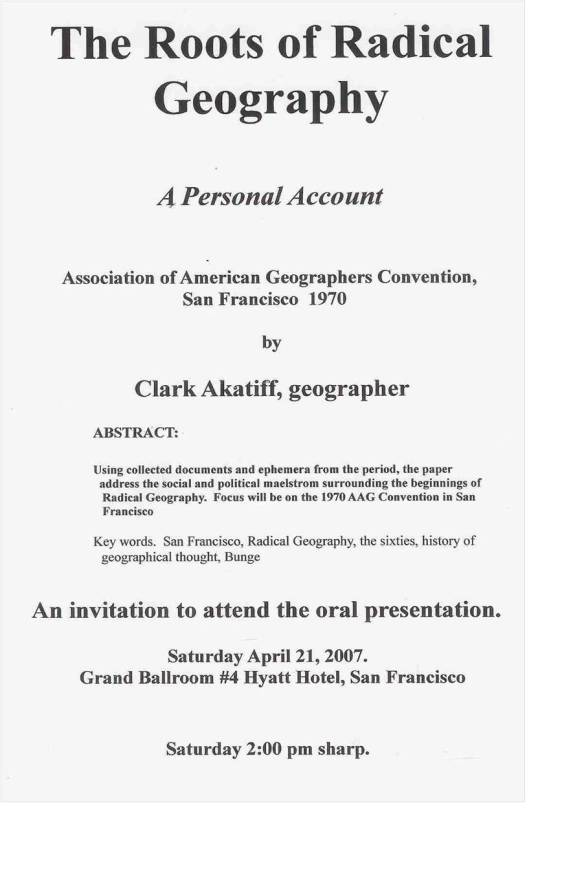 The roots of radical geography (2007 AAG annual meeting, San Francisco)