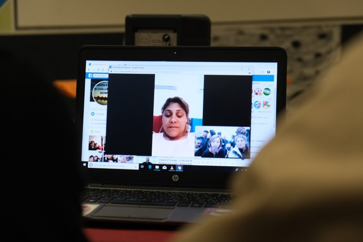 Nicoleta Visan joining the discussion with the comrades in Rome via Facebook messenger. Nicoleta was speaking from the homeless shelter she lives in Bucharest